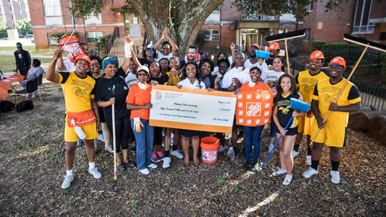 Alabama State University accepts the Home Depot:Retool Your School $50,000 grant, in 2017